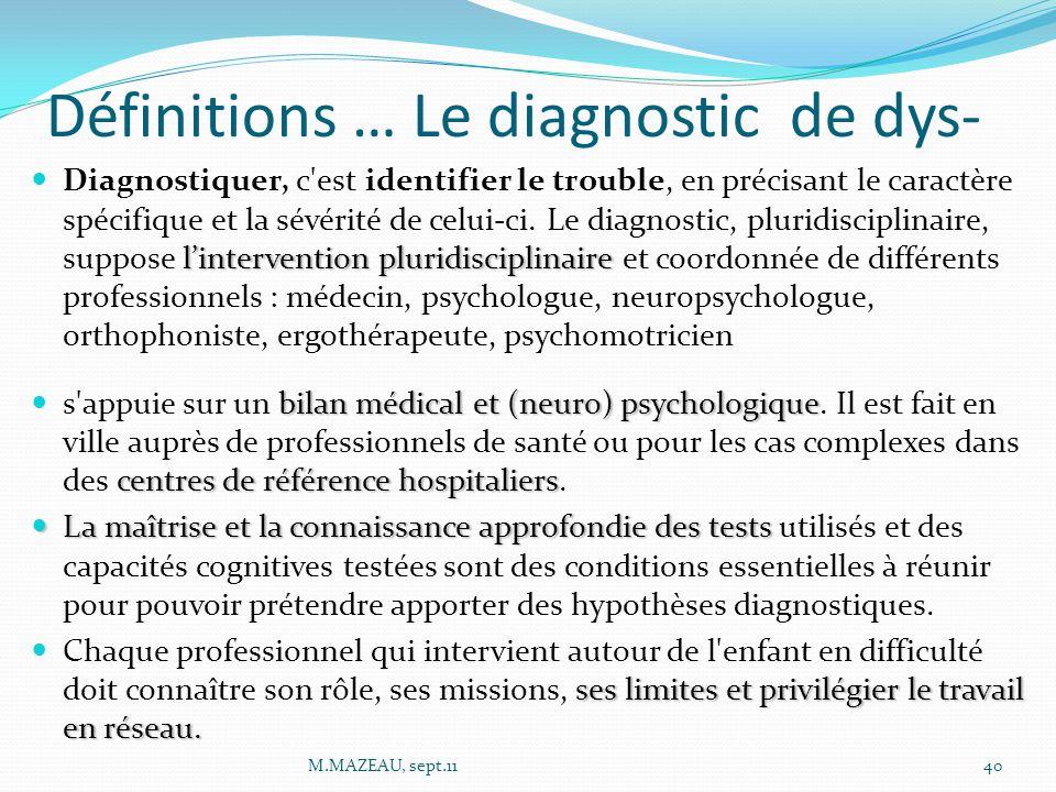 Définitions … Le diagnostic de dys- l'intervention pluridisciplinaire Diagnostiquer, c est identifier le trouble, en précisant le caractère spécifique et la sévérité de celui-ci.