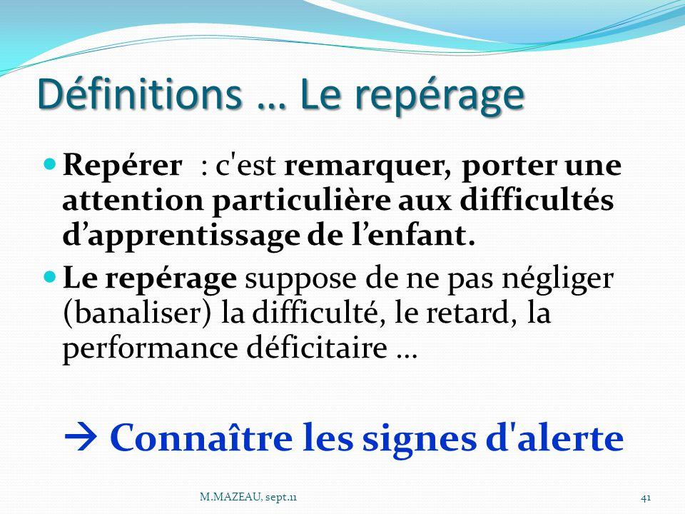 Définitions … Le repérage Repérer : c est remarquer, porter une attention particulière aux difficultés d'apprentissage de l'enfant.