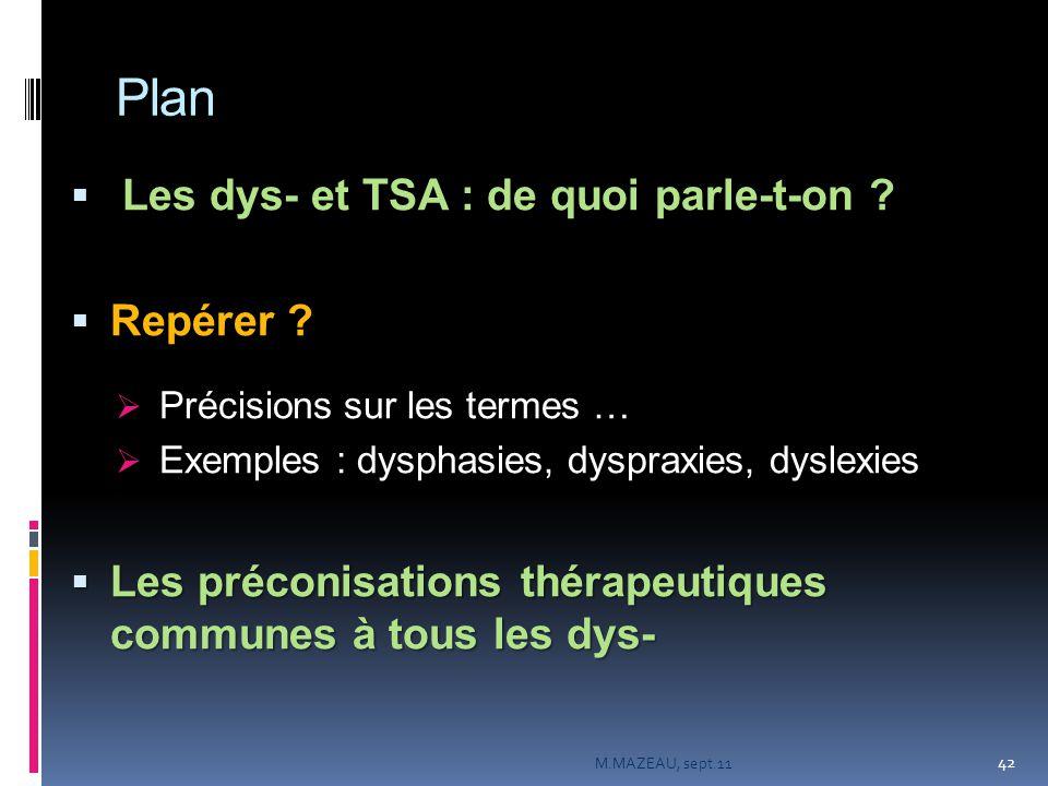 Plan  Les dys- et TSA : de quoi parle-t-on ?  Repérer ?  Précisions sur les termes …  Exemples : dysphasies, dyspraxies, dyslexies  Les préconisa