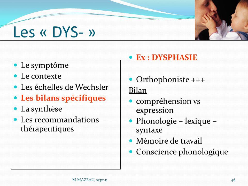 Ex : DYSPHASIE Orthophoniste +++ Bilan compréhension vs expression Phonologie – lexique – syntaxe Mémoire de travail Conscience phonologique Le symptô