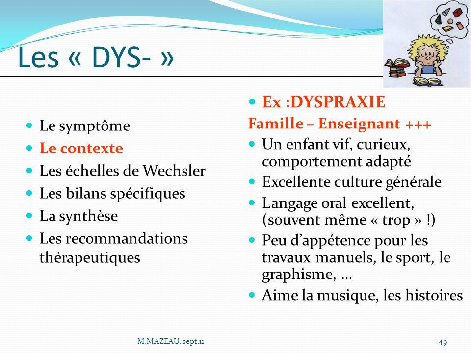 Ex :DYSPRAXIE Famille – Enseignant +++ Un enfant vif, curieux, comportement adapté Excellente culture générale Langage oral excellent, (souvent même «