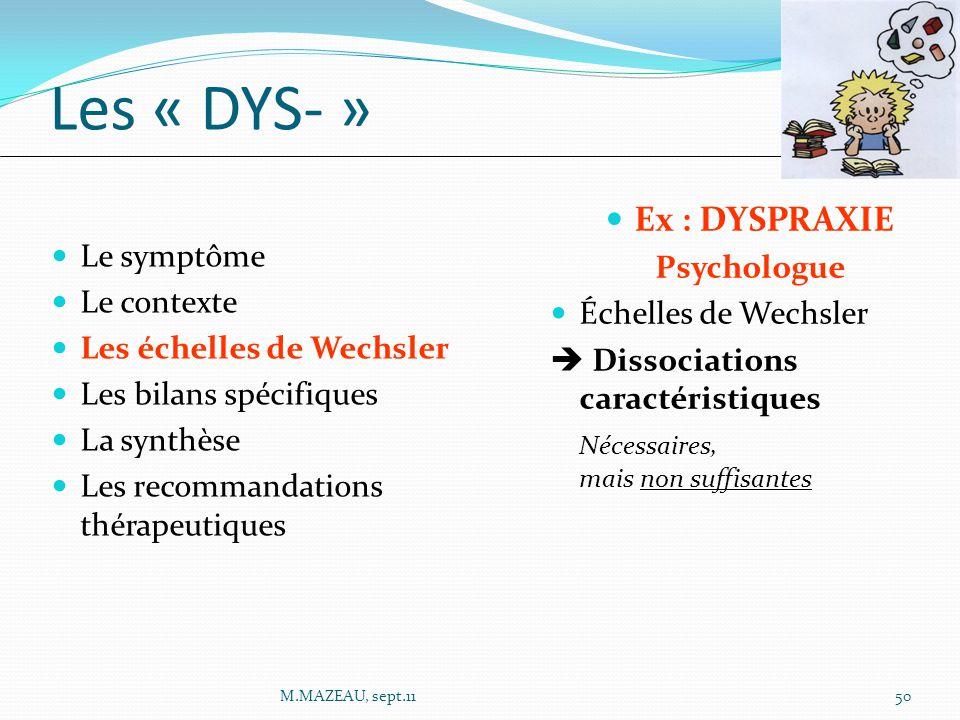 Ex : DYSPRAXIE Psychologue Échelles de Wechsler  Dissociations caractéristiques Nécessaires, mais non suffisantes Le symptôme Le contexte Les échelle