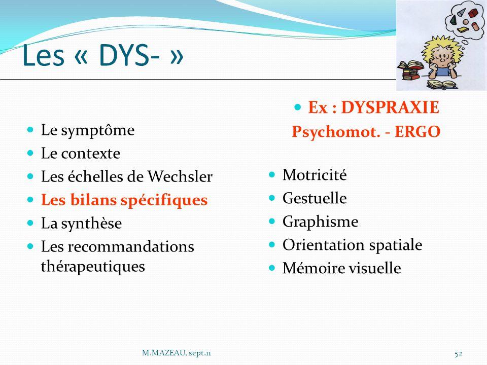 Ex : DYSPRAXIE Psychomot. - ERGO Motricité Gestuelle Graphisme Orientation spatiale Mémoire visuelle Le symptôme Le contexte Les échelles de Wechsler