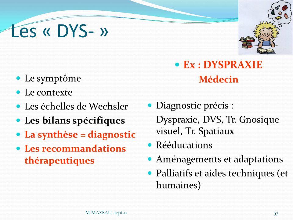 Ex : DYSPRAXIE Médecin Diagnostic précis : Dyspraxie, DVS, Tr. Gnosique visuel, Tr. Spatiaux Rééducations Aménagements et adaptations Palliatifs et ai