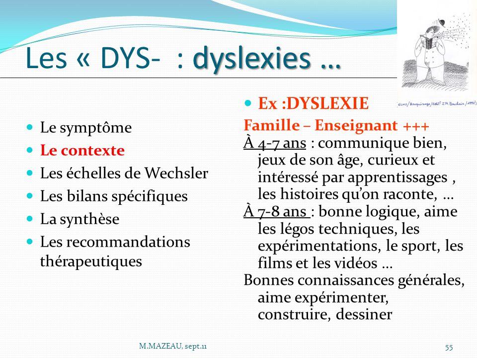 Le symptôme Le contexte Les échelles de Wechsler Les bilans spécifiques La synthèse Les recommandations thérapeutiques dyslexies … Les « DYS- : dyslexies … Ex :DYSLEXIE Famille – Enseignant +++ À 4-7 ans : communique bien, jeux de son âge, curieux et intéressé par apprentissages, les histoires qu'on raconte, … À 7-8 ans : bonne logique, aime les légos techniques, les expérimentations, le sport, les films et les vidéos … Bonnes connaissances générales, aime expérimenter, construire, dessiner 55M.MAZEAU, sept.11