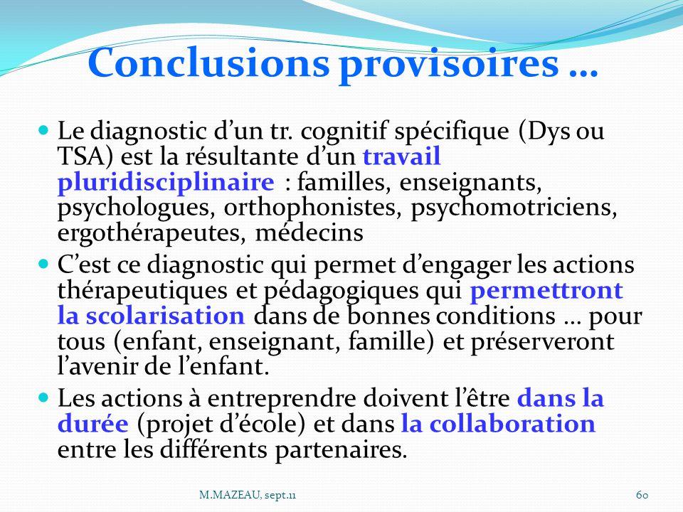 Le diagnostic d'un tr. cognitif spécifique (Dys ou TSA) est la résultante d'un travail pluridisciplinaire : familles, enseignants, psychologues, ortho