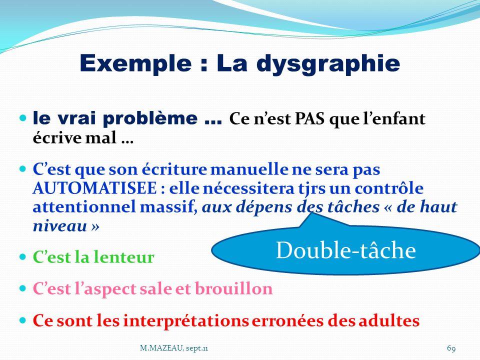 Exemple : La dysgraphie le vrai problème … Ce n'est PAS que l'enfant écrive mal … C'est que son écriture manuelle ne sera pas AUTOMATISEE : elle néces