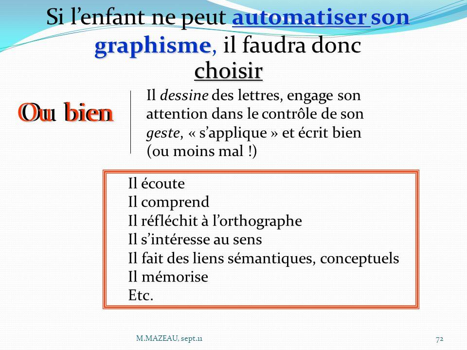 automatiser son graphisme Si l'enfant ne peut automatiser son graphisme, il faudra donc Ou bien Il dessine des lettres, engage son attention dans le c