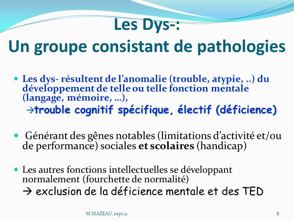 Les Dys-: Un groupe consistant de pathologies Les dys- résultent de l'anomalie (trouble, atypie,..) du développement de telle ou telle fonction mentale (langage, mémoire, …),  trouble cognitif spécifique, électif (déficience) Générant des gênes notables (limitations d'activité et/ou de performance) sociales et scolaires (handicap) Les autres fonctions intellectuelles se développant normalement (fourchette de normalité)  exclusion de la déficience mentale et des TED 8M.MAZEAU, sept.11