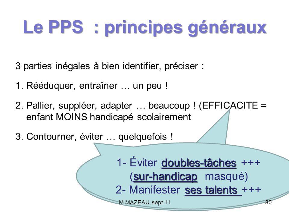 Le PPS : principes généraux 3 parties inégales à bien identifier, préciser : 1.Rééduquer, entraîner … un peu ! 2.Pallier, suppléer, adapter … beaucoup