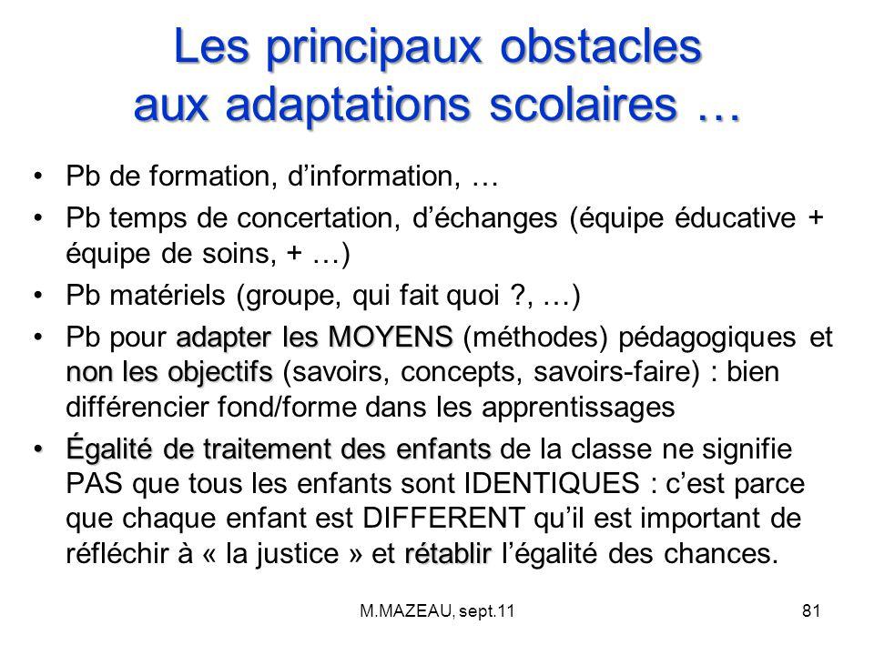 Les principaux obstacles aux adaptations scolaires … Pb de formation, d'information, … Pb temps de concertation, d'échanges (équipe éducative + équipe