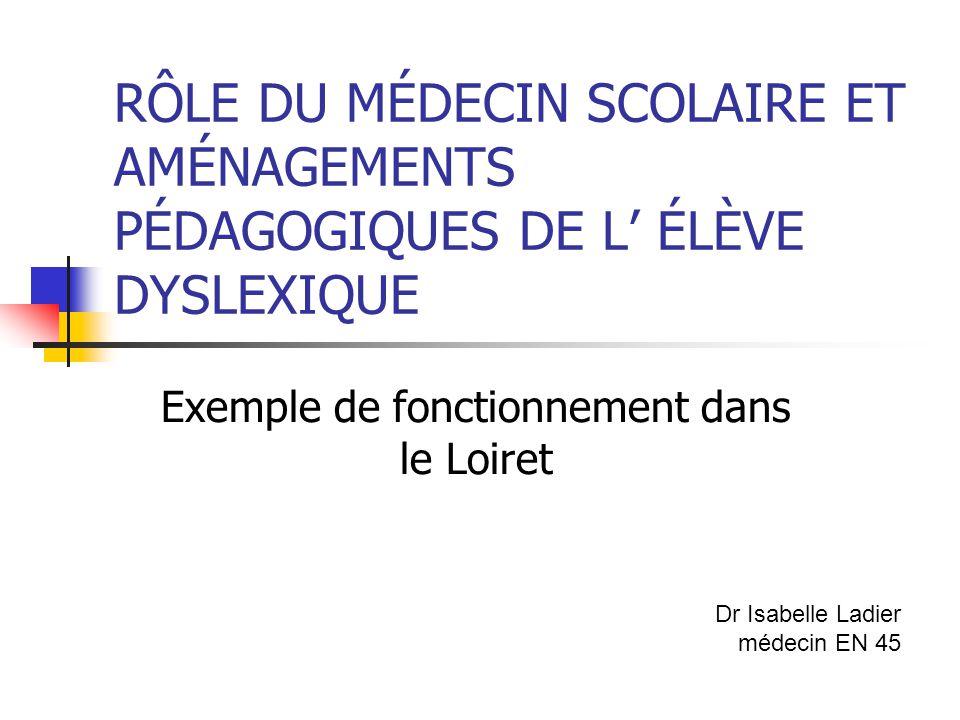 RÔLE DU MÉDECIN SCOLAIRE ET AMÉNAGEMENTS PÉDAGOGIQUES DE L' ÉLÈVE DYSLEXIQUE Exemple de fonctionnement dans le Loiret Dr Isabelle Ladier médecin EN 45