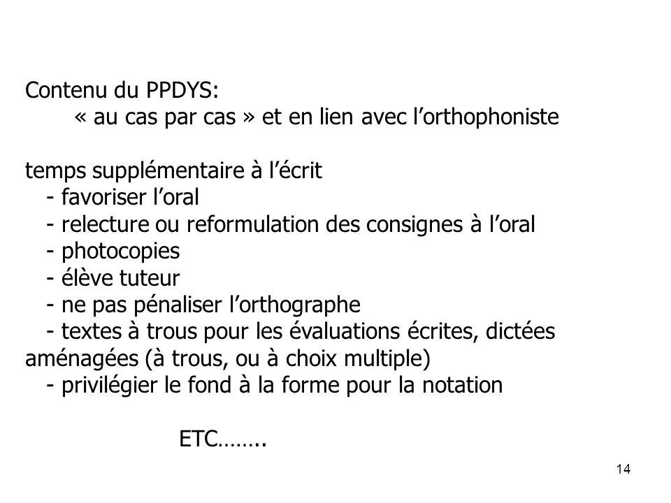 14 Contenu du PPDYS: « au cas par cas » et en lien avec l'orthophoniste temps supplémentaire à l'écrit - favoriser l'oral - relecture ou reformulation
