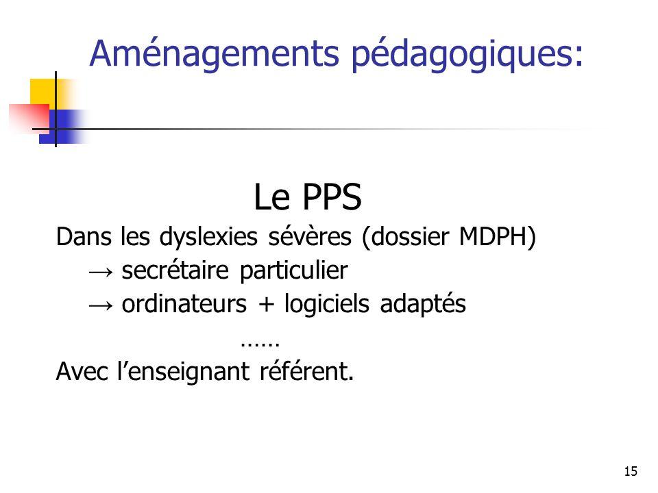 15 Aménagements pédagogiques: Le PPS Dans les dyslexies sévères (dossier MDPH) → secrétaire particulier → ordinateurs + logiciels adaptés …… Avec l'en
