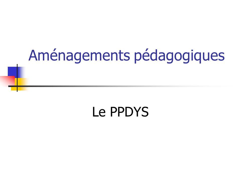 Aménagements pédagogiques Le PPDYS