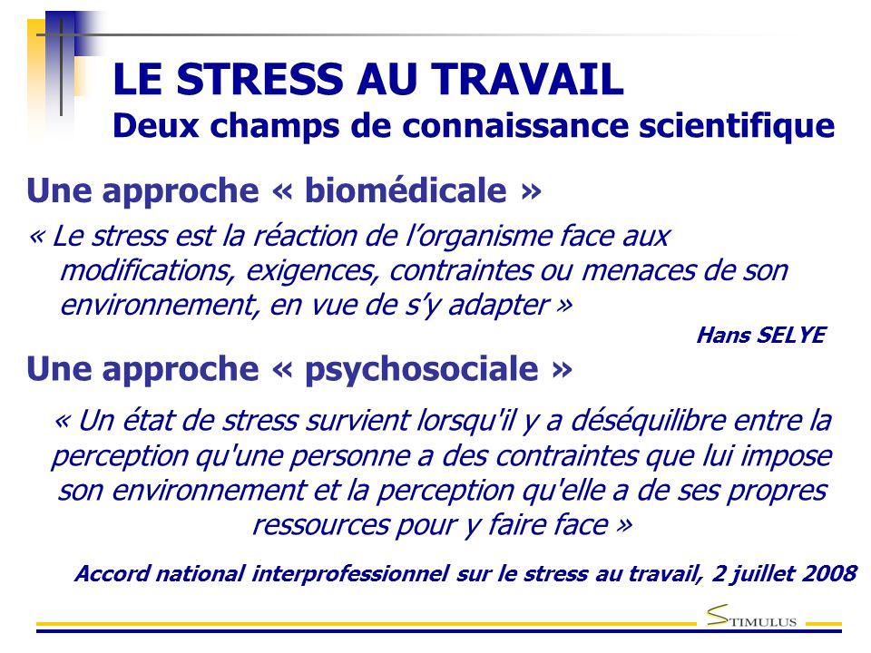 LE STRESS AU TRAVAIL Deux champs de connaissance scientifique Une approche « biomédicale » « Le stress est la réaction de l'organisme face aux modific