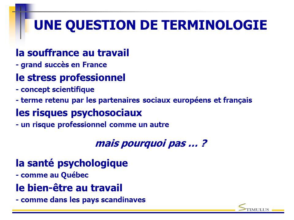 UNE QUESTION DE TERMINOLOGIE la souffrance au travail - grand succès en France le stress professionnel - concept scientifique - terme retenu par les partenaires sociaux européens et français les risques psychosociaux - un risque professionnel comme un autre mais pourquoi pas … .