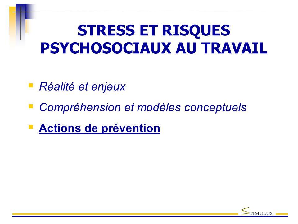 STRESS ET RISQUES PSYCHOSOCIAUX AU TRAVAIL  Réalité et enjeux  Compréhension et modèles conceptuels  Actions de prévention