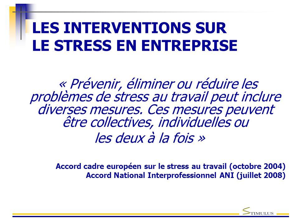LES INTERVENTIONS SUR LE STRESS EN ENTREPRISE « Prévenir, éliminer ou réduire les problèmes de stress au travail peut inclure diverses mesures.