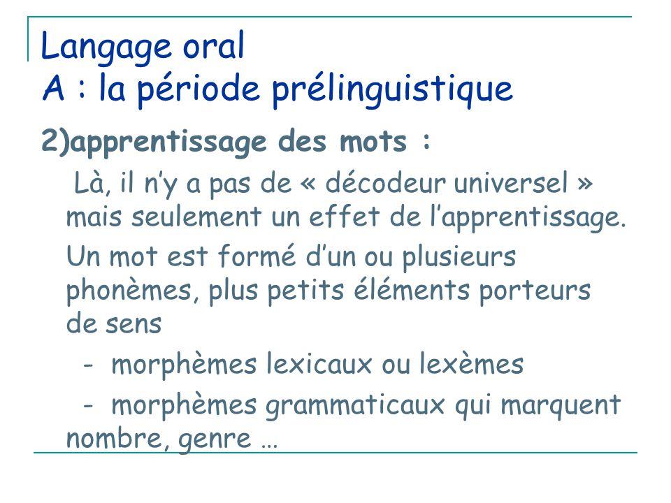 Langage oral A : la période prélinguistique 2)apprentissage des mots : Là, il n'y a pas de « décodeur universel » mais seulement un effet de l'apprentissage.