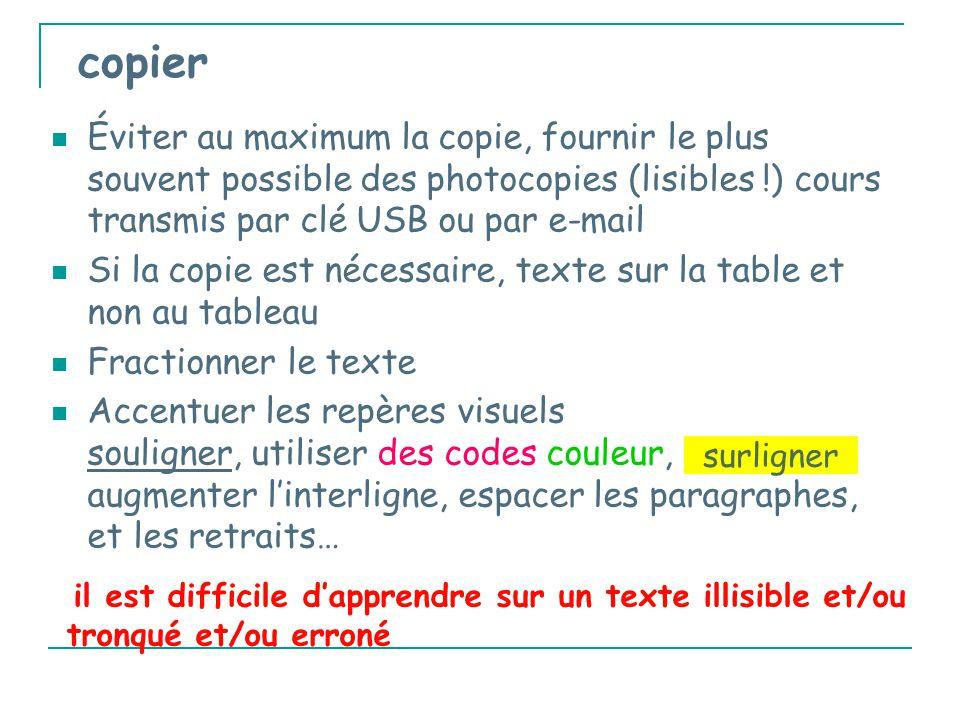 copier Éviter au maximum la copie, fournir le plus souvent possible des photocopies (lisibles !) cours transmis par clé USB ou par e-mail Si la copie est nécessaire, texte sur la table et non au tableau Fractionner le texte Accentuer les repères visuels souligner, utiliser des codes couleur, augmenter l'interligne, espacer les paragraphes, et les retraits… surligner il est difficile d'apprendre sur un texte illisible et/ou tronqué et/ou erroné