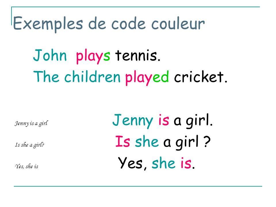 Exemples de code couleur John plays tennis.The children played cricket.
