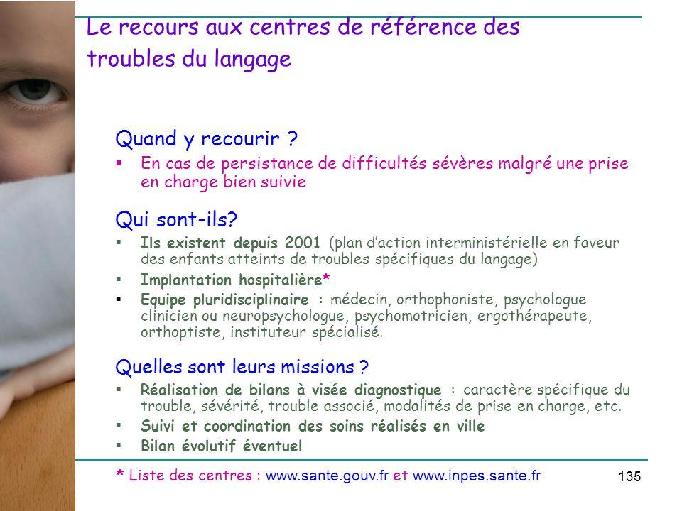 Le recours aux centres de référence des troubles du langage Quand y recourir .