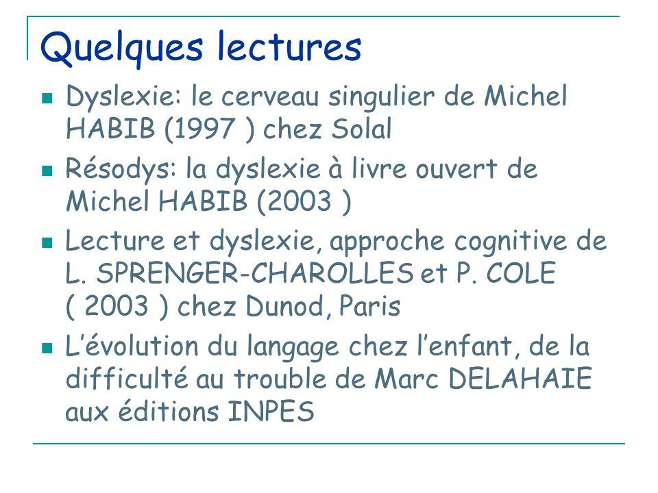 Quelques lectures Dyslexie: le cerveau singulier de Michel HABIB (1997 ) chez Solal Résodys: la dyslexie à livre ouvert de Michel HABIB (2003 ) Lecture et dyslexie, approche cognitive de L.