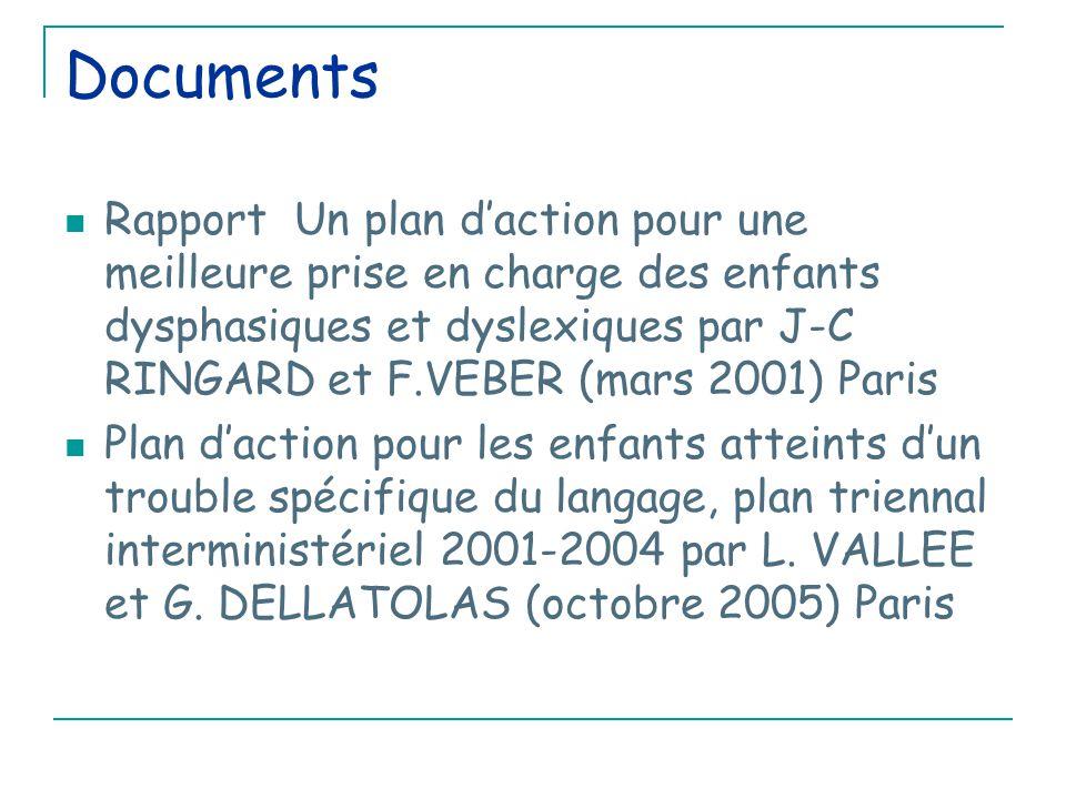 Documents Rapport Un plan d'action pour une meilleure prise en charge des enfants dysphasiques et dyslexiques par J-C RINGARD et F.VEBER (mars 2001) Paris Plan d'action pour les enfants atteints d'un trouble spécifique du langage, plan triennal interministériel 2001-2004 par L.