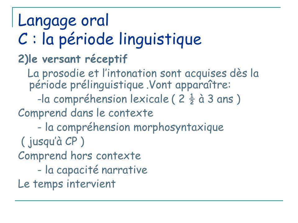 Langage oral C : la période linguistique 2)le versant réceptif La prosodie et l'intonation sont acquises dès la période prélinguistique.Vont apparaître: -la compréhension lexicale ( 2 ½ à 3 ans ) Comprend dans le contexte - la compréhension morphosyntaxique ( jusqu'à CP ) Comprend hors contexte - la capacité narrative Le temps intervient