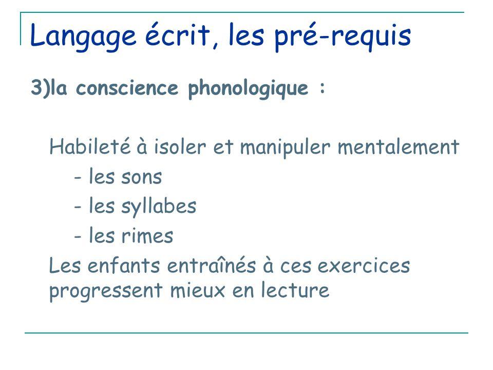 Langage écrit, les pré-requis 3)la conscience phonologique : Habileté à isoler et manipuler mentalement - les sons - les syllabes - les rimes Les enfants entraînés à ces exercices progressent mieux en lecture