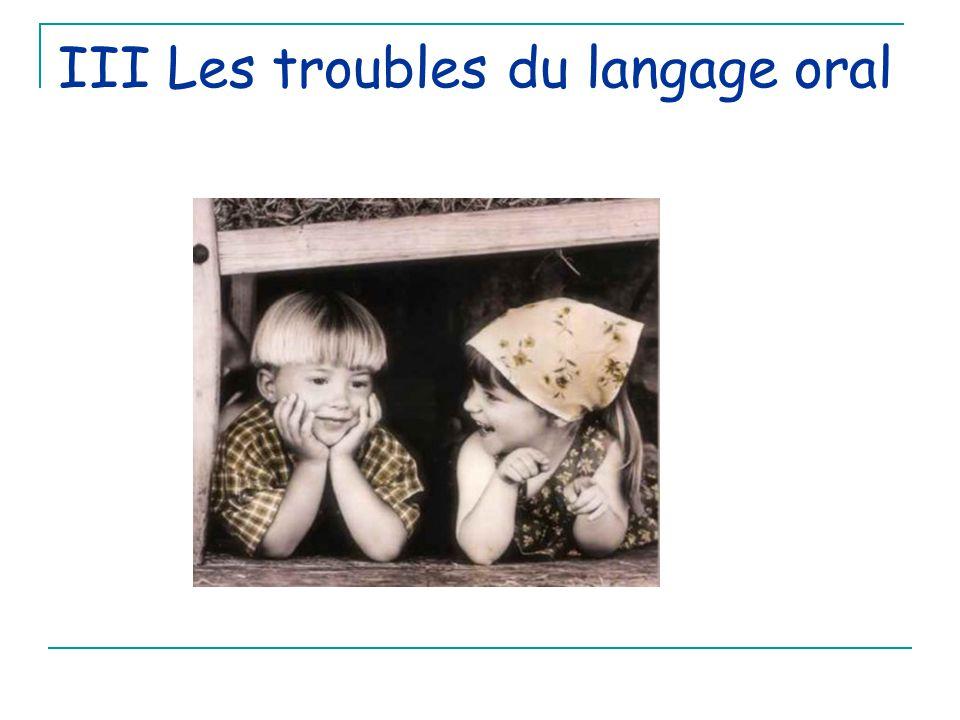 III Les troubles du langage oral