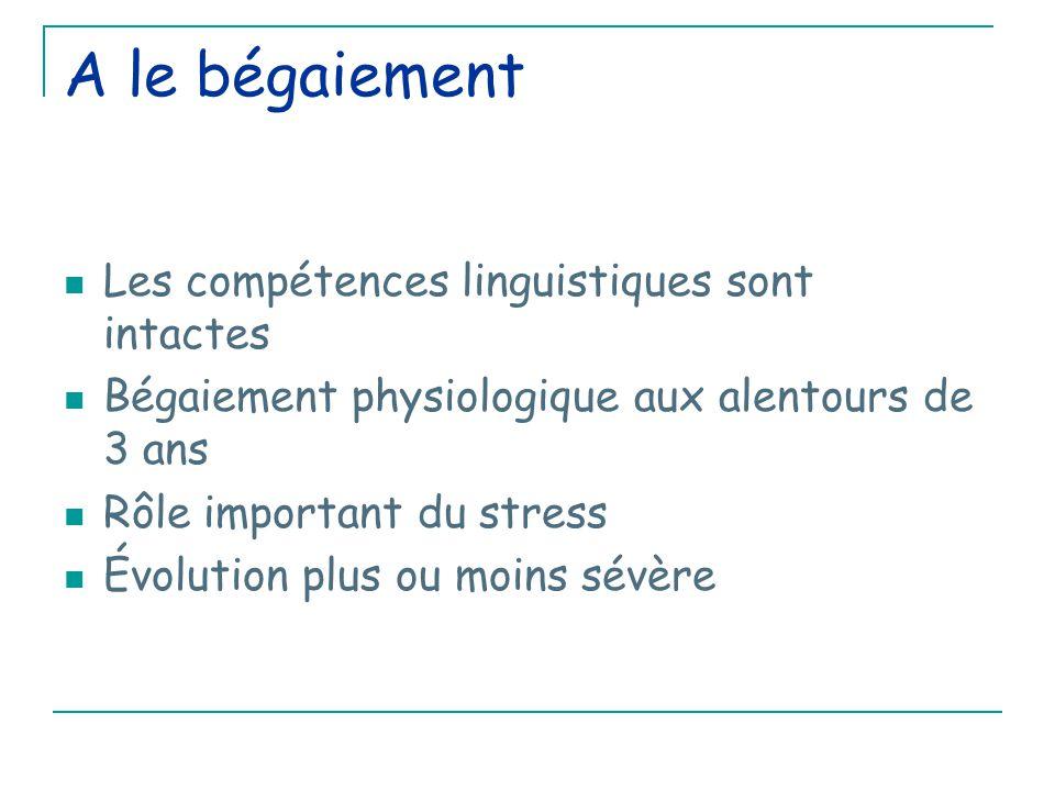 A le bégaiement Les compétences linguistiques sont intactes Bégaiement physiologique aux alentours de 3 ans Rôle important du stress Évolution plus ou moins sévère