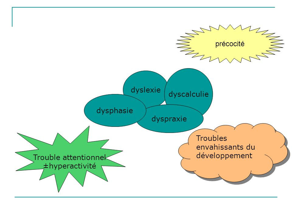 dyslexie dyscalculie dyspraxie dysphasie Trouble attentionnel ±hyperactivité Troubles envahissants du développement précocité