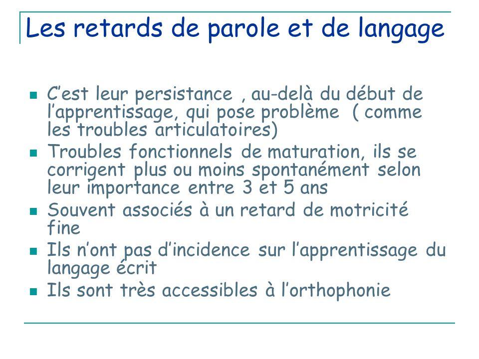 Les retards de parole et de langage C'est leur persistance, au-delà du début de l'apprentissage, qui pose problème ( comme les troubles articulatoires) Troubles fonctionnels de maturation, ils se corrigent plus ou moins spontanément selon leur importance entre 3 et 5 ans Souvent associés à un retard de motricité fine Ils n'ont pas d'incidence sur l'apprentissage du langage écrit Ils sont très accessibles à l'orthophonie