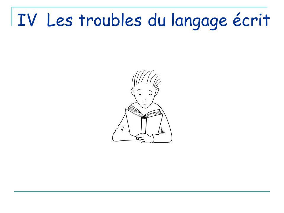 IV Les troubles du langage écrit