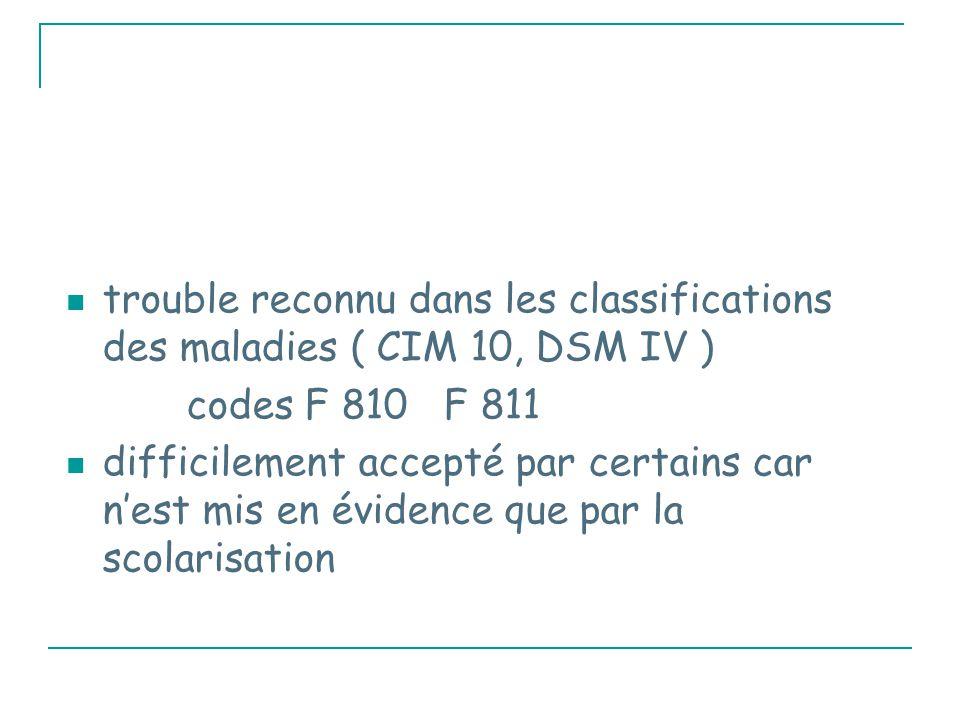 trouble reconnu dans les classifications des maladies ( CIM 10, DSM IV ) codes F 810 F 811 difficilement accepté par certains car n'est mis en évidence que par la scolarisation