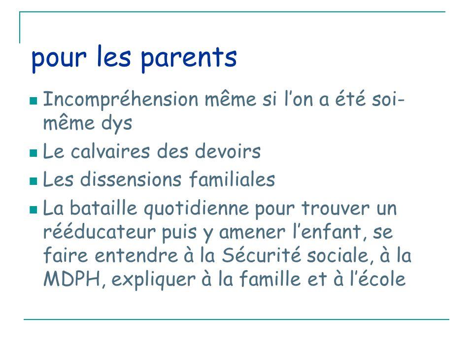pour les parents Incompréhension même si l'on a été soi- même dys Le calvaires des devoirs Les dissensions familiales La bataille quotidienne pour trouver un rééducateur puis y amener l'enfant, se faire entendre à la Sécurité sociale, à la MDPH, expliquer à la famille et à l'école