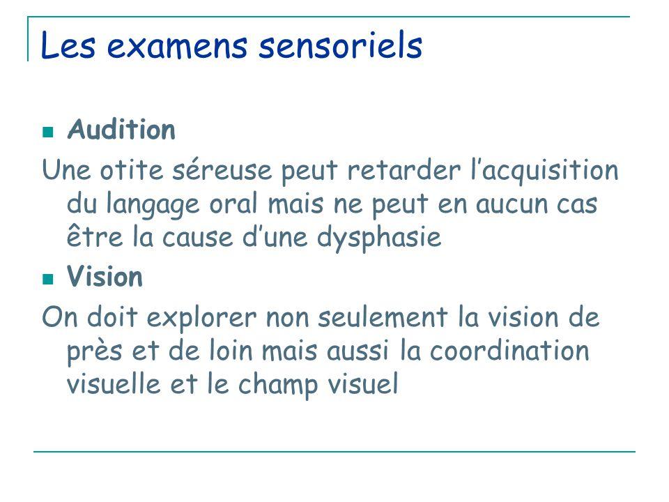 Les examens sensoriels Audition Une otite séreuse peut retarder l'acquisition du langage oral mais ne peut en aucun cas être la cause d'une dysphasie Vision On doit explorer non seulement la vision de près et de loin mais aussi la coordination visuelle et le champ visuel
