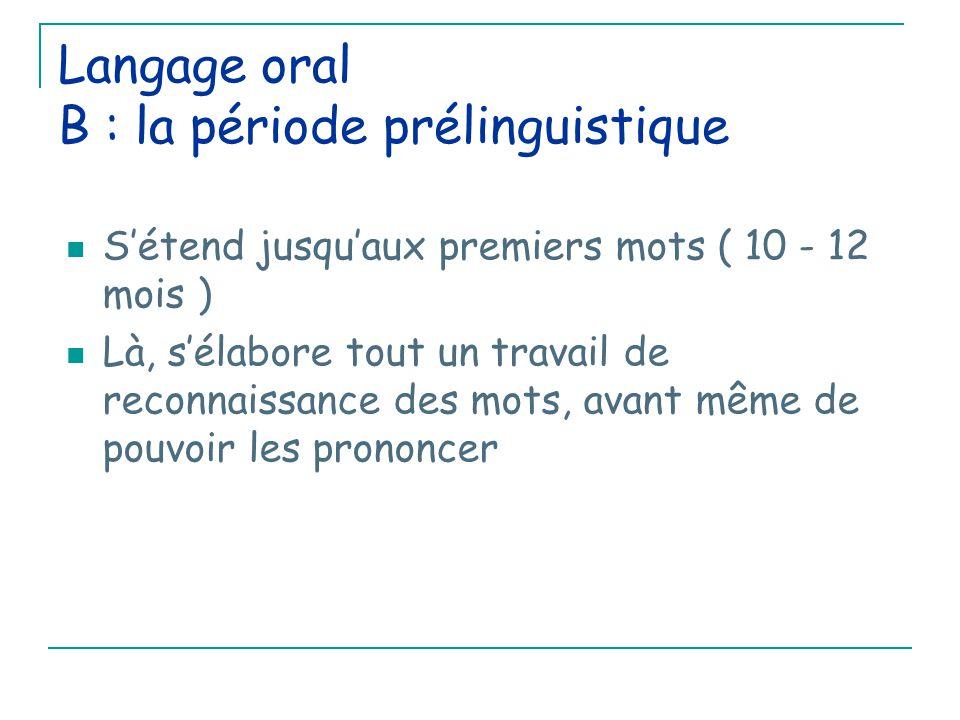 Langage oral B : la période prélinguistique 1) apprentissage des phonèmes de la langue: Phonème = son élémentaire de la langue Le pouvoir inné de percevoir tous les sons de toutes les langues se perd progressivement ( à partir de 6 mois ) et l'enfant ne va plus pouvoir percevoir que les sons de sa langue