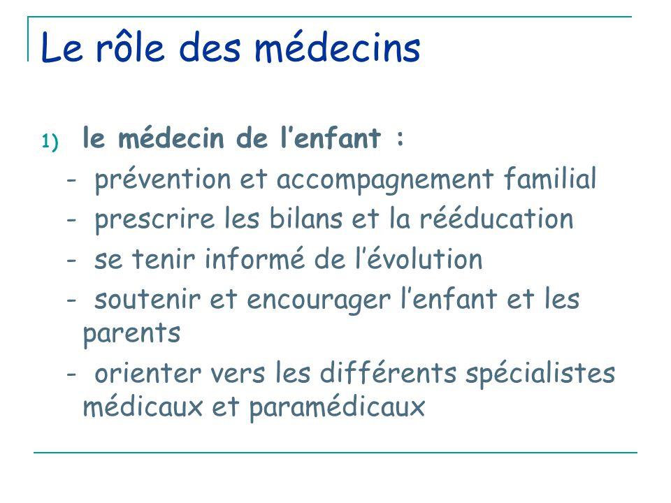 Le rôle des médecins 1) le médecin de l'enfant : - prévention et accompagnement familial - prescrire les bilans et la rééducation - se tenir informé de l'évolution - soutenir et encourager l'enfant et les parents - orienter vers les différents spécialistes médicaux et paramédicaux