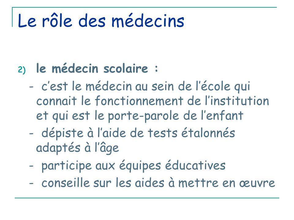 Le rôle des médecins 2) le médecin scolaire : - c'est le médecin au sein de l'école qui connait le fonctionnement de l'institution et qui est le porte-parole de l'enfant - dépiste à l'aide de tests étalonnés adaptés à l'âge - participe aux équipes éducatives - conseille sur les aides à mettre en œuvre