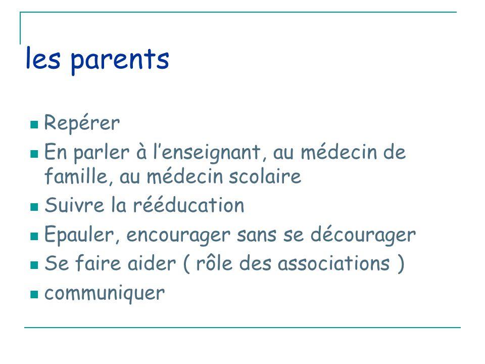 les parents Repérer En parler à l'enseignant, au médecin de famille, au médecin scolaire Suivre la rééducation Epauler, encourager sans se décourager Se faire aider ( rôle des associations ) communiquer
