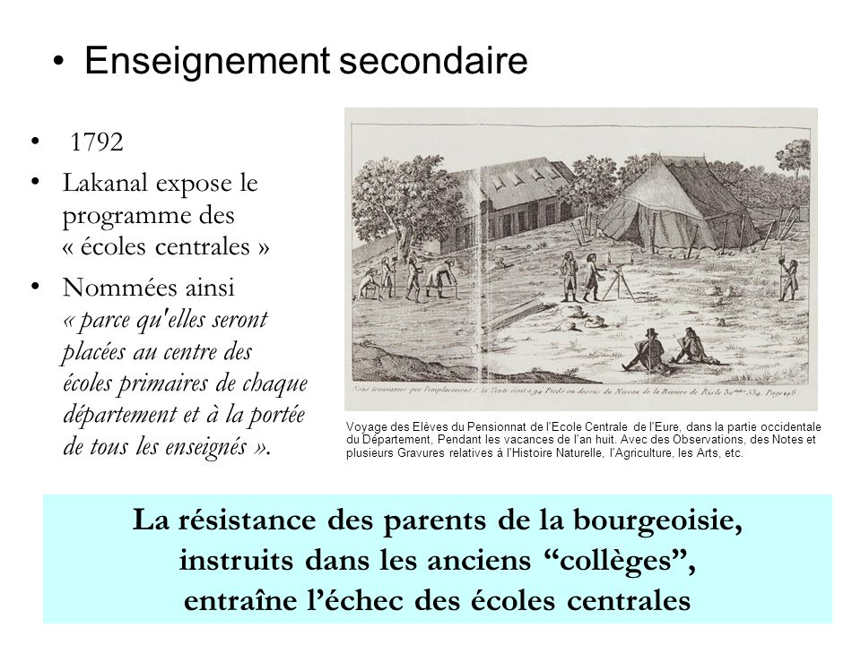 1792 Lakanal expose le programme des « écoles centrales » Nommées ainsi « parce qu elles seront placées au centre des écoles primaires de chaque département et à la portée de tous les enseignés ».
