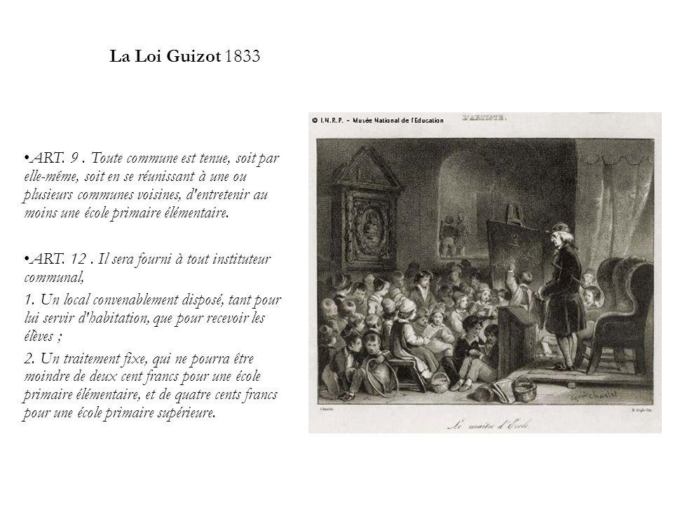 La Loi Guizot 1833 ART. 9. Toute commune est tenue, soit par elle-même, soit en se réunissant à une ou plusieurs communes voisines, d'entretenir au mo