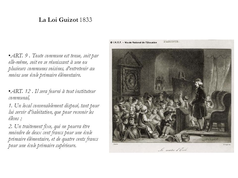 La Loi Guizot 1833 ART.9.