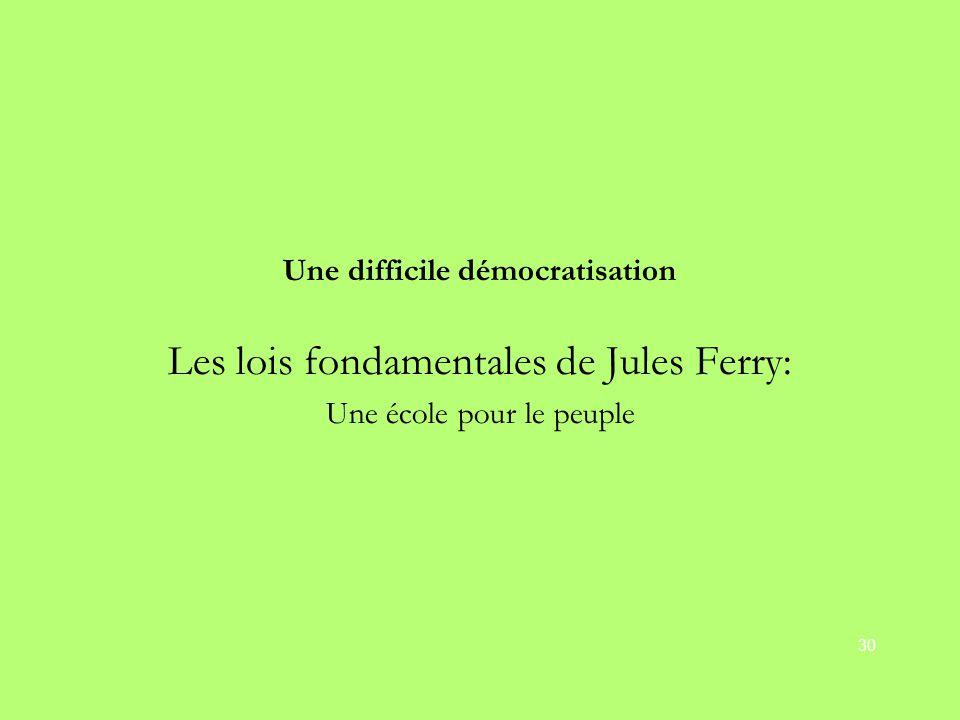 Une difficile démocratisation Les lois fondamentales de Jules Ferry: Une école pour le peuple 30