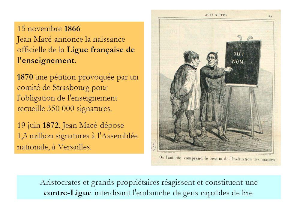 15 novembre 1866 Jean Macé annonce la naissance officielle de la Ligue française de l'enseignement. 1870 une pétition provoquée par un comité de Stras