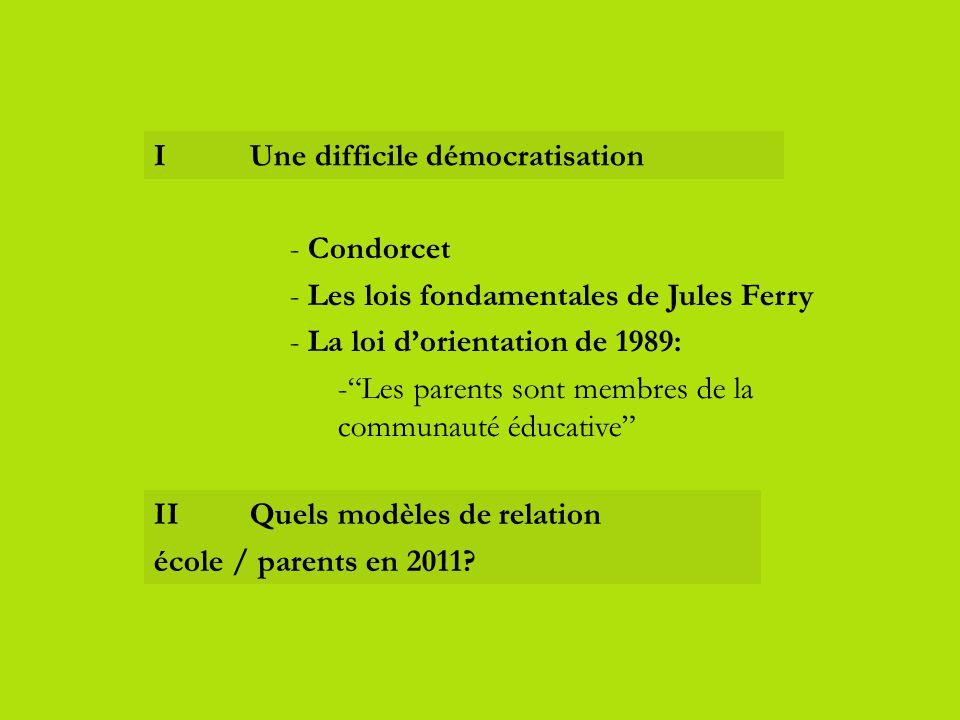 I Une difficile démocratisation IIQuels modèles de relation école / parents en 2011? - Condorcet - Les lois fondamentales de Jules Ferry - La loi d'or