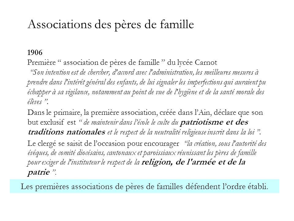 """Associations des pères de famille 1906 Première """" association de pères de famille """" du lycée Carnot """"Son intention est de chercher, d'accord avec l'ad"""